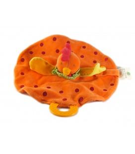 Doudou plat Bergamotte La Poule Cocotte orange Nature et Découvertes 26 cm