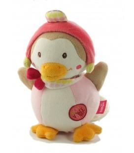 Doudou peluche musicale Canard Oiseau rose blanc Bon voyage Babysun 18 cm