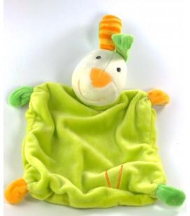Doudou plat Lapin vert Carotte Grelot Babysun