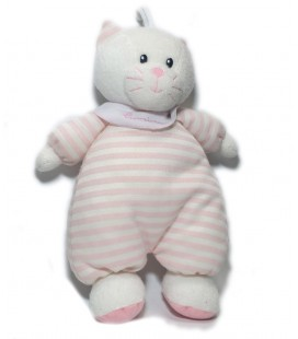 Peluche doudou chat blanc rose rayures Luminou 35 cm