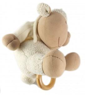 Doudou peluche musicale Mouton beige blanc Nature et Découvertes 26 cm