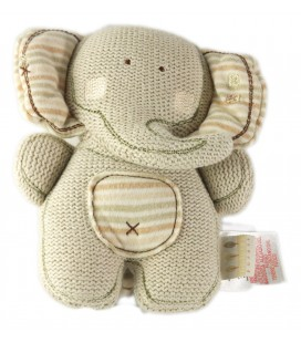 Doudou Tricot Elephant gris Natures Pures 16 cm