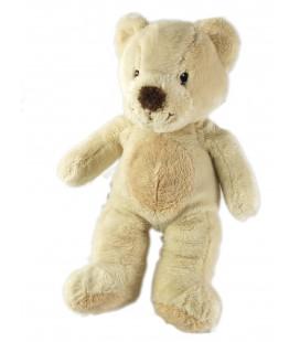 Doudou peluche ours nez marron Ventre rond beige Nicotoy Kiabi 25 cm