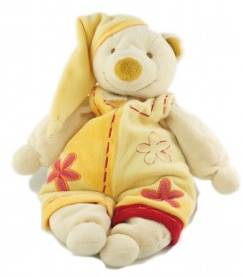 Doudou ours jaune orange bonnet Fleurs rose 32 cm Baby Nat