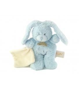 Doudou Lapin câlin bleu Mouchoir blanc 20 cm Baby Nat