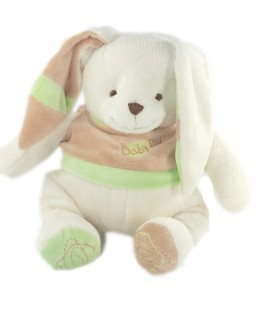 Doudou Lapin blanc pull beige vert 32 cm Baby Nat