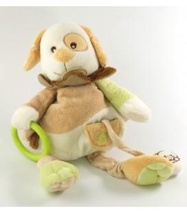 Doudou d'éveil activité Chien beige vert grelot 28 cm Baby Nat