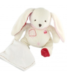 Doudou Lapin Mouchoir blanc rose 24 cm Baby Nat