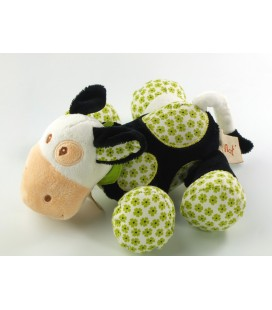 Doudou Vache blanc vert noir grelot 16 cm Baby Nat