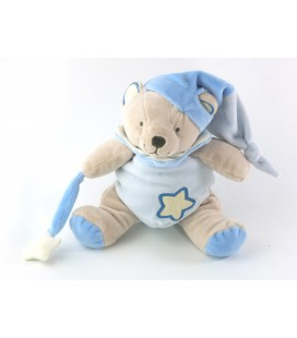 Doudou Luminescent OURS bleu étoile Bonnet - BABY NAT' Babynat - H 22 cm