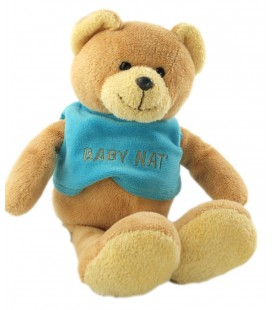 Doudou Ours beige marron pull bleu 26 cm Baby Nat