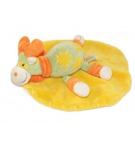 Doudou plat rond Renne Elan Cariou jaune vert orange Baby Luna
