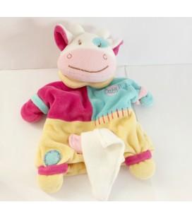 Doudou marionnette vache bleu jaune rose Poche Mouchoir Baby Nat