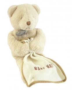 Doudou Ours rème écru beige clair Mouchoir blanc 26 cm Baby Nat