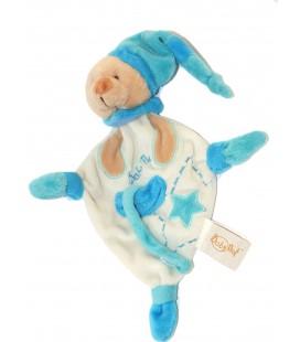 Doudou Ours bleu attache tétine blanc étoile Baby Nat