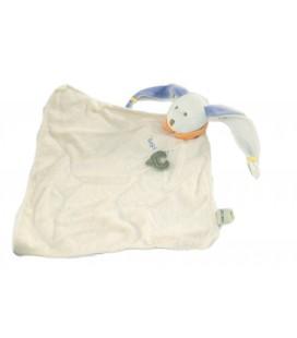 Doudou plat Lapin blanc bleu Coeur Véritable Doudou Baby Nat