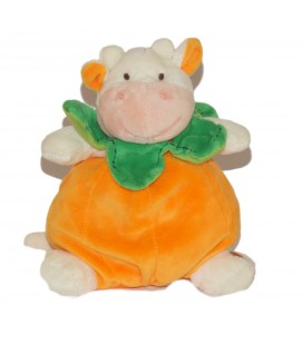 Doudou orange vert La Vache Baby Nat 16 cm