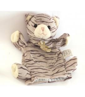 Doudou Marionnette Mario Chat tigré gris HISTOIRE D'OURS 25 cm HO1169