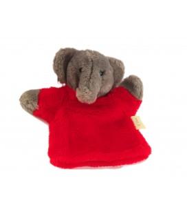 Histoire d'ours - Doudou marionnette Elephant gris rouge Cedeji