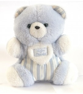 TARTINE ET CHOCOLAT Doudou peluche Ours bleu blanc 18 cm
