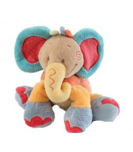 NATTOU - Doudou Elephant orange bleu Oasis 20 cm Musical Ne foncitonne plus