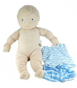 Doudou Poupon Poupée garçon blond LEKKAMRAT IKEA 48 cm avec vêtements *T-shirt troué
