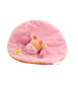 Doudou plat Vache rose rond Manon et Valentin