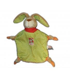 Doudou plat Lapin beige vert orange Wombel 4 noeuds Sigikid