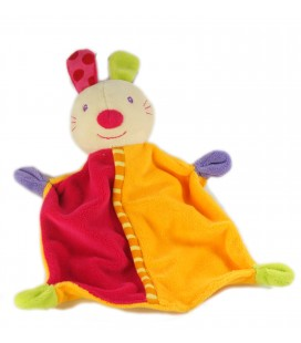 Doudou perdu plat Lapin rose orange Baby Sun