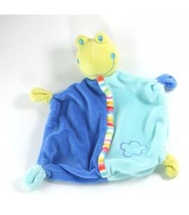Doudou plat bleu vert grenouille nuage Babysun