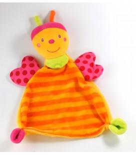 Doudou plat papillon orange rose Baby Sun Babysun Grelot