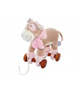 Doudou peluche sur roulettes - Vache Lola Noukie's (Noukies) - Beige rose