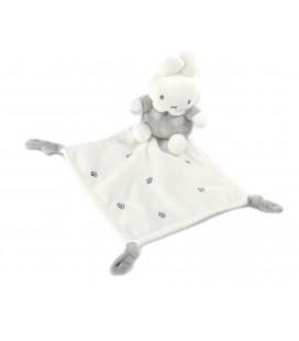 Doudou mouchoir Lapin blanc gris Miffy fleurs