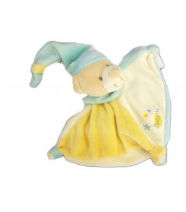 Doudou plat calin ours blanc bleu jaune Bonnet Baby Nat' étoiles