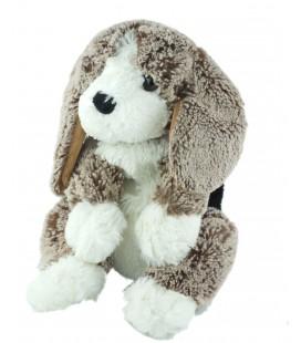 Doudou peluche chien Alinea 28 cm marron blanc noir