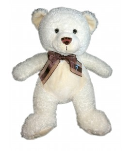 Peluche ours blanc Marionnaud Noeud marron 38 cm