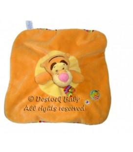 Doudou plat Tigrou orange Echarpe dessous rayures Disney Baby Nicotoy Abeille brodée