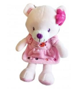 Doudou ours rose robe oiseau 25 cm Pommette 579/3215