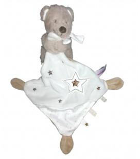 Doudou ours gris beige mouchoir blanc étoiles Pommette