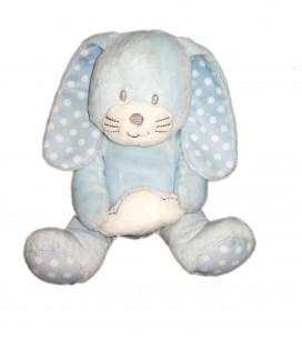 Doudou peluche Lapin bleu pois nuage assis 20 cm Kimbaloo La Halle