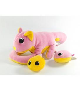 Peluche doudou d'activité chat rose jaune BRIO