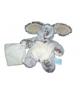 Babynat - Pantin collection : Les Flocons - Doudou Lapin chiné gris brun avec mouchoir blanc - Peluche 22 cm