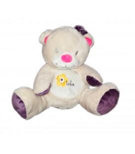 Doudou peluche ours oursonne gris blanc violet Bébisol Arthur et Lola 20 cm
