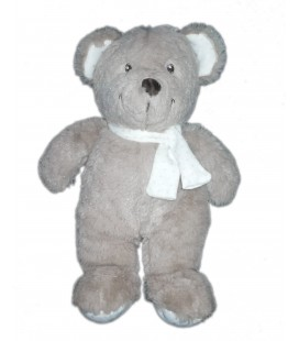 Doudou peluche ours gris Echarpe blanche étoiles Pommette 26 cm