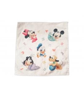 Doudou plat blanc éponge personnages bébé Dinsey Mickey Donald Minine Donald Pluto
