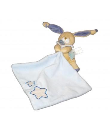Doudou Luminescent Lapin bleu beige crème pantin étoiles avec mouchoir BN041