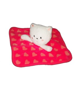 Doudou plat chat rose rouge coeurs oranges Orchestra