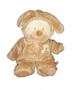 Doudou peluche ours beige déguisé lapin 38 cm Nicotoy coeur