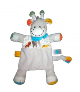 Doudou plat girafe gris blanc foulard bleu elephant TEX Baby 579/2313