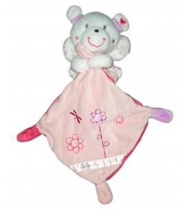 Doudou souris rose blanc Pommette mouchoir fleurs papillon